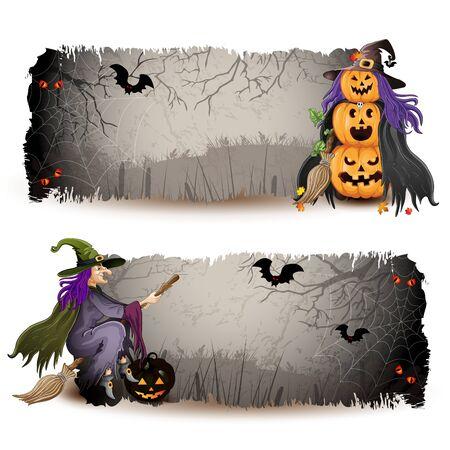 bruja: Banners de Halloween con la bruja y calabaza