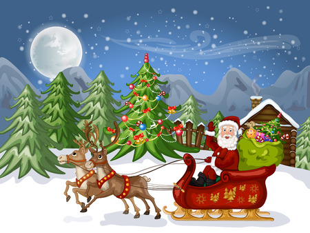 snow sled: Merry Christmas Card .Illustration of a funny cartoon Santa Claus and snowman