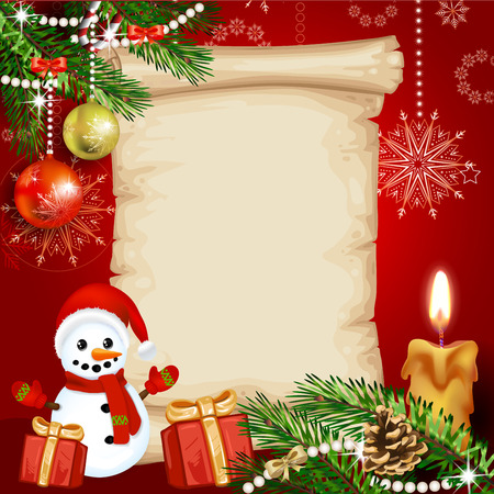santa: Christmas card with a snowman and gifts