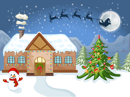 Merry Christmas Card. Illustration white Christmas house, Christmas tree ,Santa Claus and snowman Иллюстрация