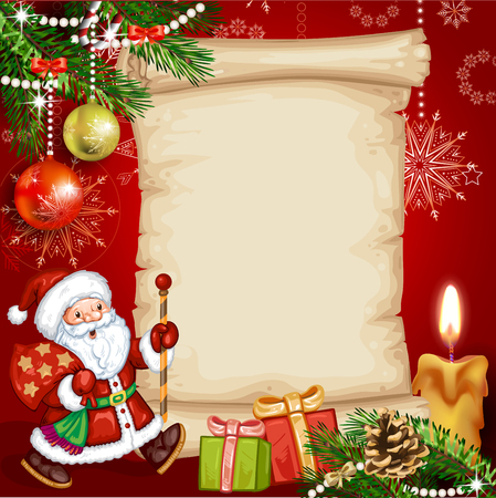 happy holidays card: Christmas card with a Santa Claus and gifts
