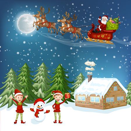 ice slide: Merry Christmas Card. Illustration with Christmas house, Christmas tree ,Santa Claus and snowman