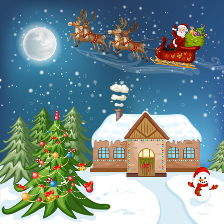 Merry Christmas Card. Illustration with Christmas house, Christmas tree ,Santa Claus and snowman