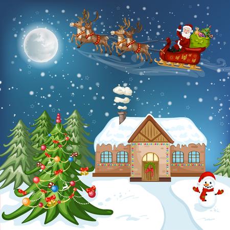 Vrolijke Kerstkaart. Illustratie met kerst huis, kerstboom, kerstman en sneeuwpop