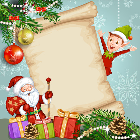 shapes cartoon: Christmas card with  Santa Claus and elf