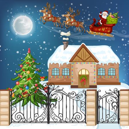 クリスマスの家、クリスマス ツリー、サンタ クロース、雪だるまとメリー クリスマス カード イラスト  イラスト・ベクター素材
