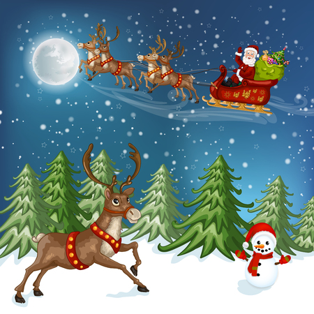 claus: Merry Christmas Card. Illustration with Christmas house, Christmas tree , Santa Claus ,deer and snowman