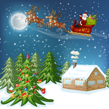 Merry Christmas Card. Illustration with Christmas house, Christmas tree ,Santa Claus