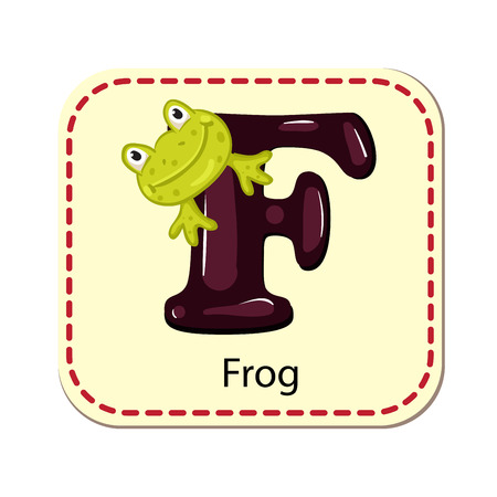 Illustration of isolated alphabet F for frog  イラスト・ベクター素材