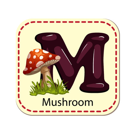 Illustration of isolated alphabet M for mushroom