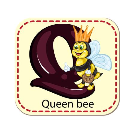 abeja reina: Ilustraci�n del alfabeto aislado Q para la abeja reina