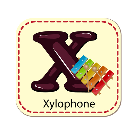 xylophone: Illustration of isolated alphabet X for xylophone