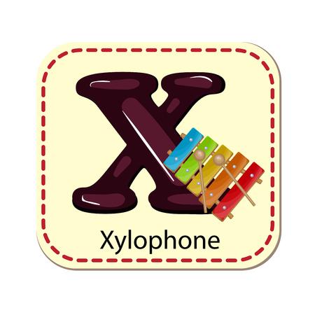 xilofono: Ilustración de aislado alfabeto X para xilófono