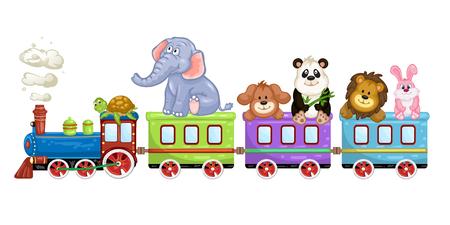 Schattige dieren met een trein op een witte achtergrond.