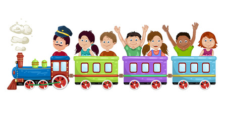 Kids, boys and girls on a cartoon train. Иллюстрация