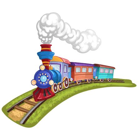 Cartoon trein met kleurrijke wagen in spoorweg Stock Illustratie