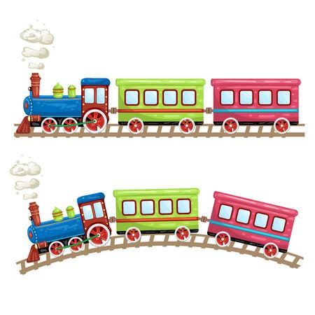tren caricatura: trenes de color, vagones y rieles