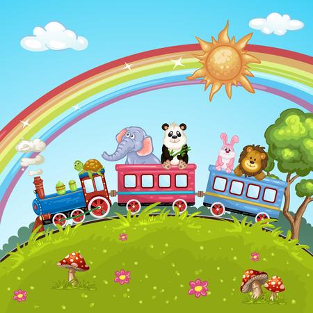 arcoiris caricatura: Tren de la historieta Animal Vectores