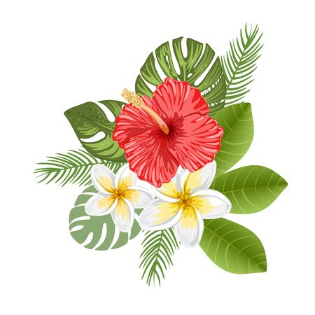 Arreglo de flores de hibisco y frangipani