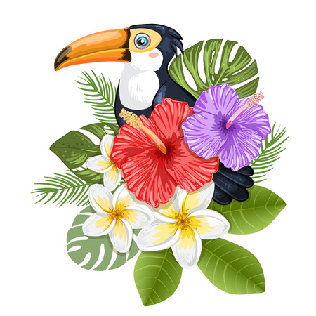 tropical: Tropical flowers and toucan Illustration