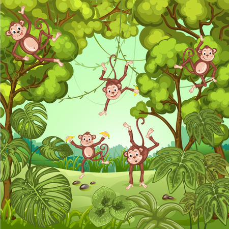 family outside: Illustration of monkeys playing in the jungle