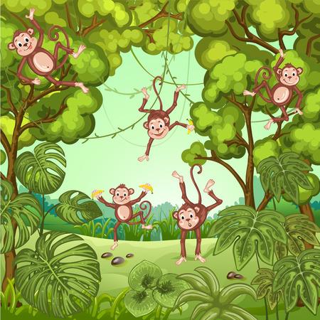 banana caricatura: Ilustraci�n de monos jugando en la selva
