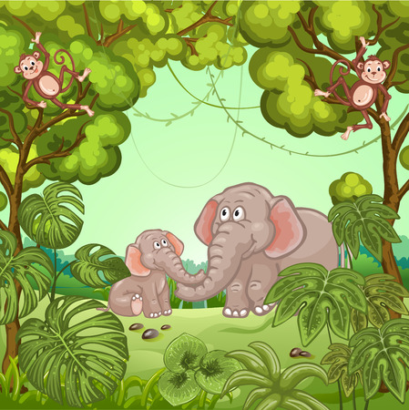 tropical tree: Illustration of a jungle scene with elephants and monkey Illustration
