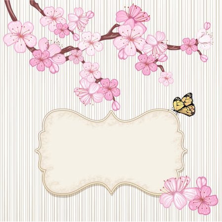 Cherry blossom,  branch with pink flowers.