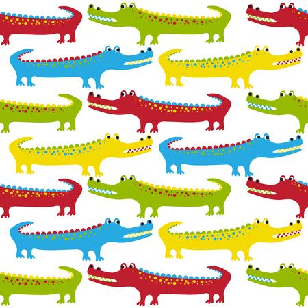 alligator cartoon: Cartoon crocodiles seamless pattern