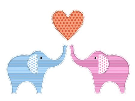 elefante caricatura: Illustration of two cute elephants with heart Vectores