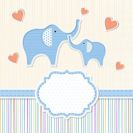 Baby shower invitation with elephants 일러스트