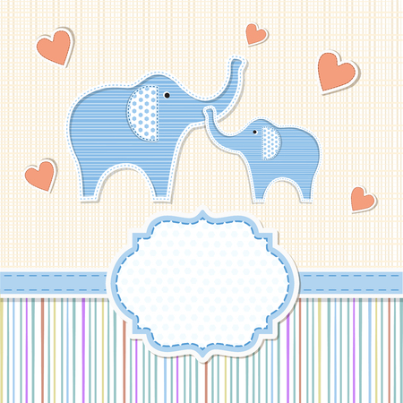 baby boy announcement: Baby shower invitation with elephants Illustration