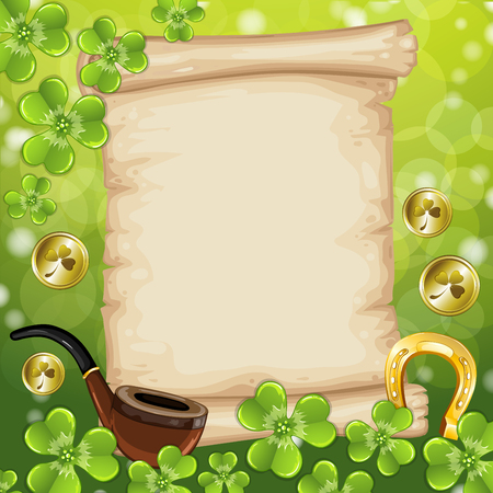 scroll paper: St.Patricks Day background with vintage scroll paper. Illustration
