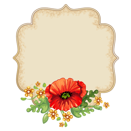 poppies: Vintage floral frame with red poppies Illustration