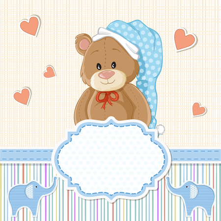 invitations card: Teddy bear for baby boy . Baby shower invitation