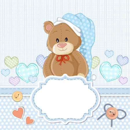 baby delivery: Teddy bear for baby boy . Baby shower invitation