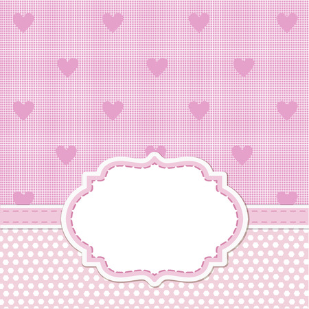 ornate frame: Pink card invitation for baby shower, wedding or birthday party with white stripes. Cute background with white space to put your own text.
