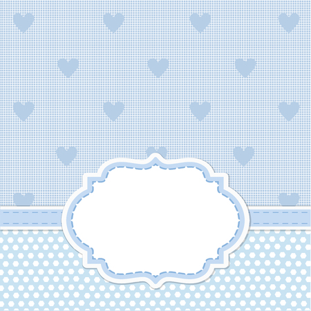 simple: Blue card invitation for baby shower, wedding or birthday party with white stripes. Cute background with white space to put your own text.