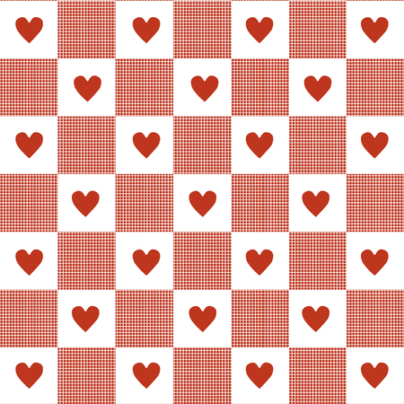 gingham: Hearts  Gingham Seamless Pattern.