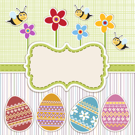 decorated eggs: Easter background with decorated eggs .