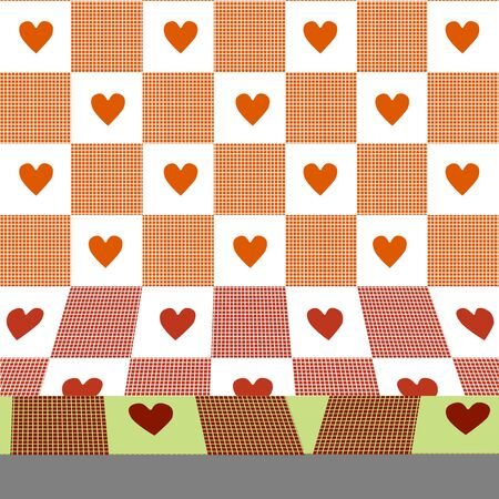 gingham: Hearts & Gingham three-dimensional pattern.
