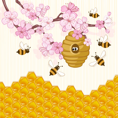 Illustration of bee flying around a beehive Vettoriali