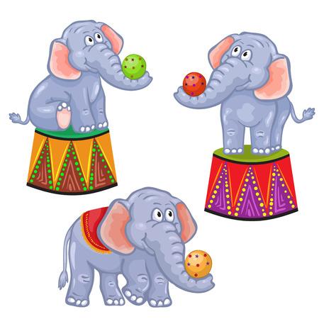 Set of cartoon circus elephant 일러스트