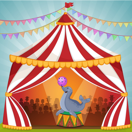 whisker characters: Illustration of Circus seal playing ball Illustration