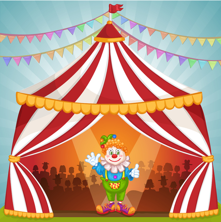 Cartoon Clown im Zirkuszelt