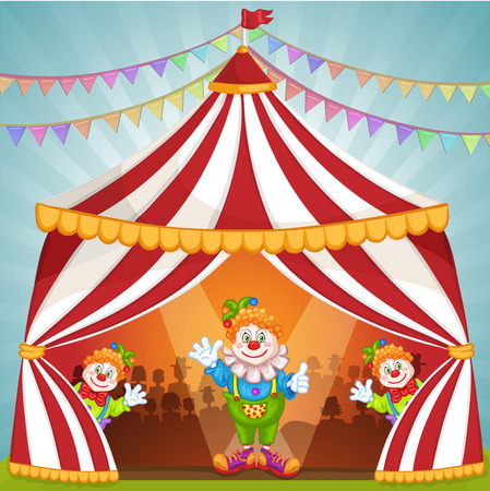 entertainers: Cartoon clowns in circus tent Illustration