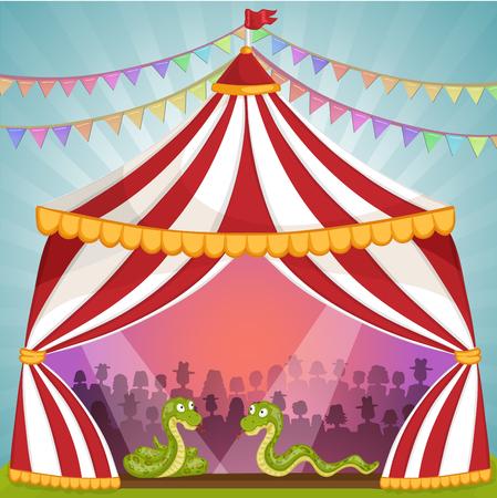 Grüne Schlange im Zirkuszelt