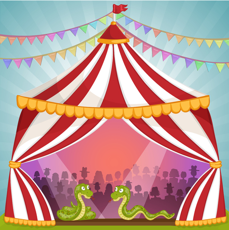 manege: Green snake in circus tent Illustration