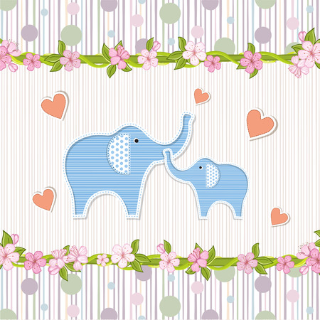 home birth: Baby shower invitation with elephants Illustration
