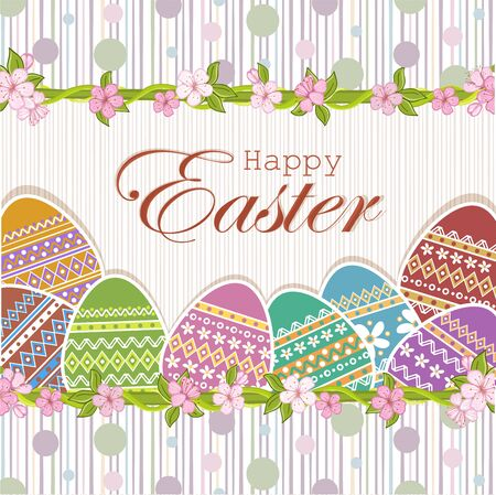 greeting card background: Easter eggs background .Greeting Easter card